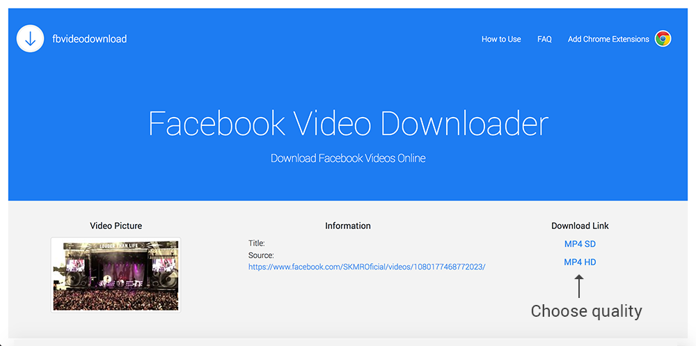 Online facebook video downloader choose the video quality if available to start downloading video from facebook reheart Gallery